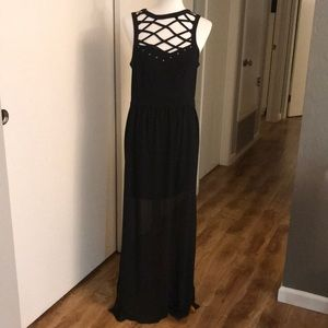 Long black sheer sleeveless dress